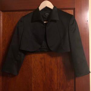 Tahari Black satin cropped bolero tuxedo jacket